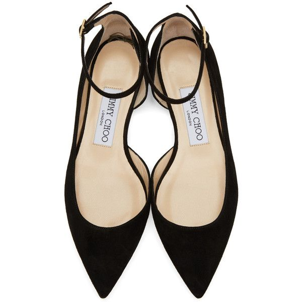 Jimmy Choo Black Suede Lucy Flats (3401555 PYG) ❤ liked on Polyvore featuring shoes, flats, heels, black flat shoes, ankle strap ballet flats, pointy-toe flats, suede ballet flats and pointed-toe ankle-strap flats