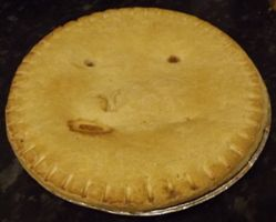 This is a kinda creepy looking pie, yet it must be yummy!