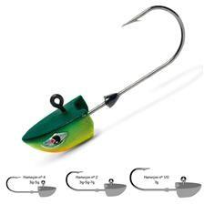 Tête plombée Freaky Head Chartreuse Lime Green VMC. Petite tête destinée à la pêche rapide entre deux eaux : perches, sandres... Forme spéciale pour un effet planant