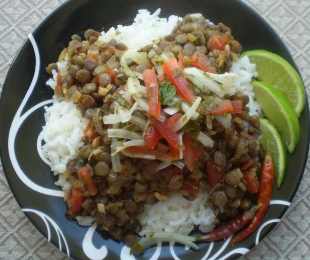 Ají De Lentejas (Bolivian Spicy Lentil Stew) from Food.com:   								A Bolivian vegan recipe  from Around the World. The salsa is also typical of Ecuador, Chile, Peru, and northern Chile. Enjoy!