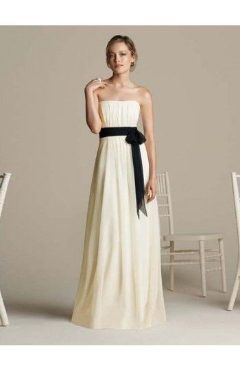 Strapless Sheath/Column Chiffon Bridesmaid Dresses With Ruffles