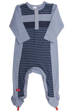 "Naartjie Kids SA newborn boys footed babygrow in our fun ""space"" stripe, with solid paneling and front placket detail. 100% cotton excluding trims."