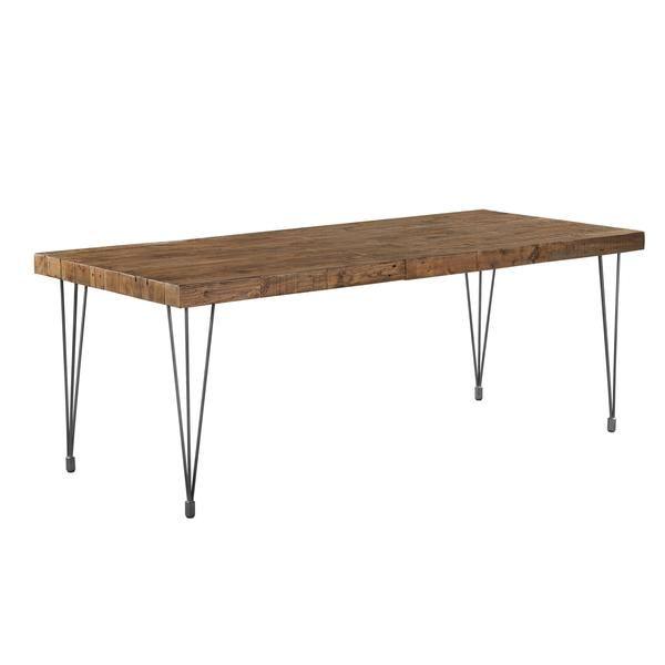 Boneta Dining Table Natural Pine Wood Iron