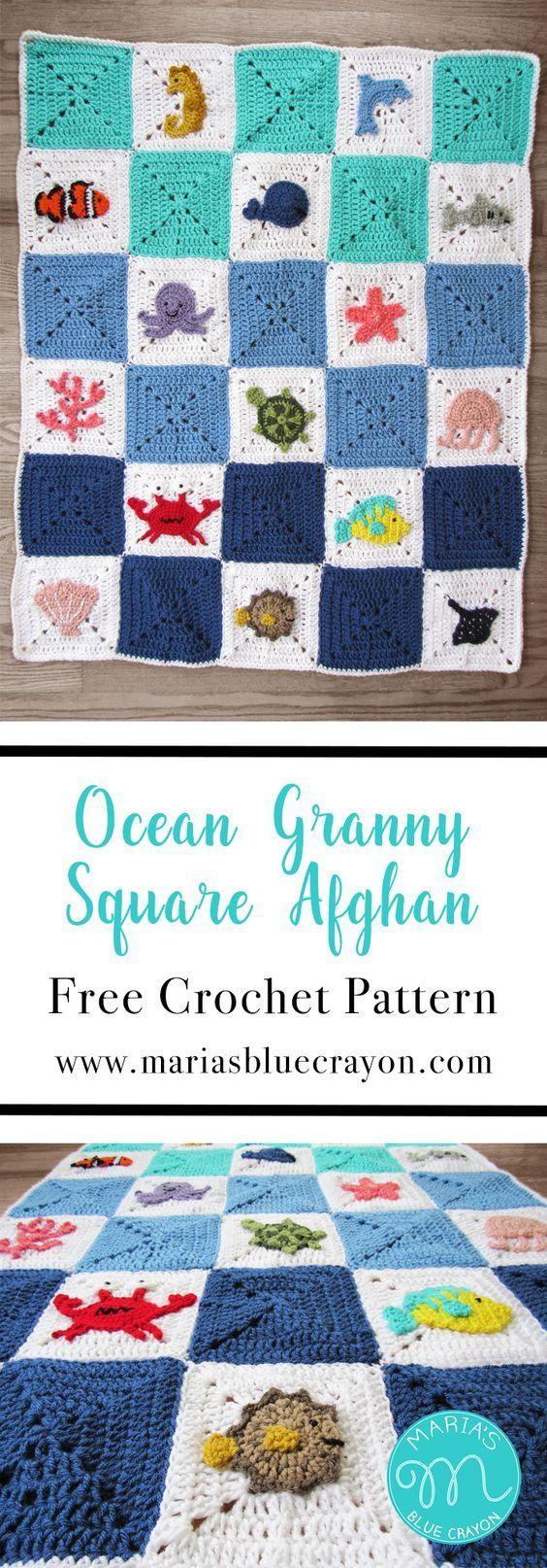 Ocean Granny Square Afghan Free Crochet Pattern.