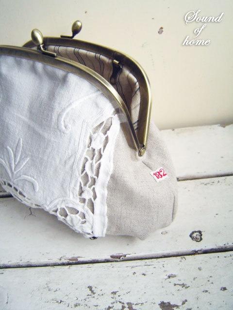 Vintage crochet lace & Linen leather pouch bag by SoundOfHome, $55.80