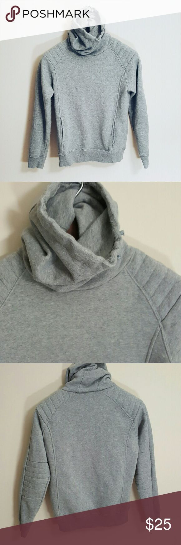 Structured cowl neck hoodie! S In good condition! H&M Gray structured cowl neck hoodie size small. Long fit. Elbow and shoulder detail!  Perfect to pair with your favorite pair of leggings or with a pair of white shorts this spring!  Bundle using the bundle feature and save! H&M Tops