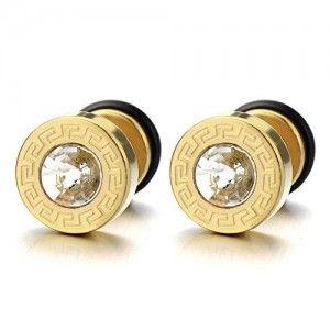 Modelo-Dominante-Griego-Oro-Pendientes-de-Hombre-Aretes-Acero-Inoxidable-con-4MM-Circonita-2-piezas-0
