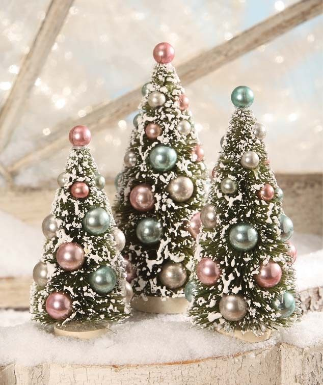 Details about Bethany Lowe 3 Pc Set Red Snowy Bottle Brush CHRISTMAS