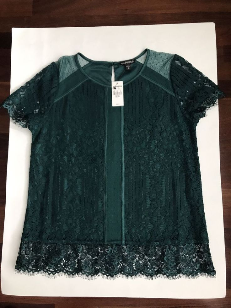 NWT Express Dark Green Short Sleeve Top with Lace, Womens Size XS, Holiday Top!! #Express #Blouse