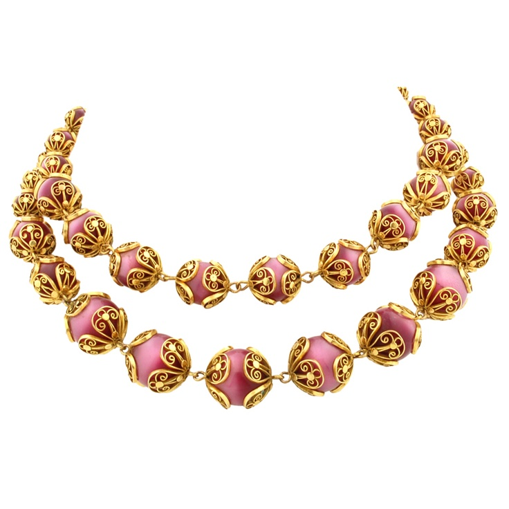 1stdibs | Antique Gold and Red Cat's Eye Necklace