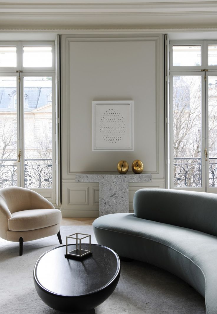 Interior In Paris By Joseph Dirand: Serpentine Sofa By Vladimir Kagan (USA  1970), Sofa Table By Byung Hoon Choï (South Korea, 2009), Custom Designed  Lounge ...