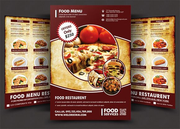 64 best Restaurant Menu Design Templates images on Pinterest - food brochure
