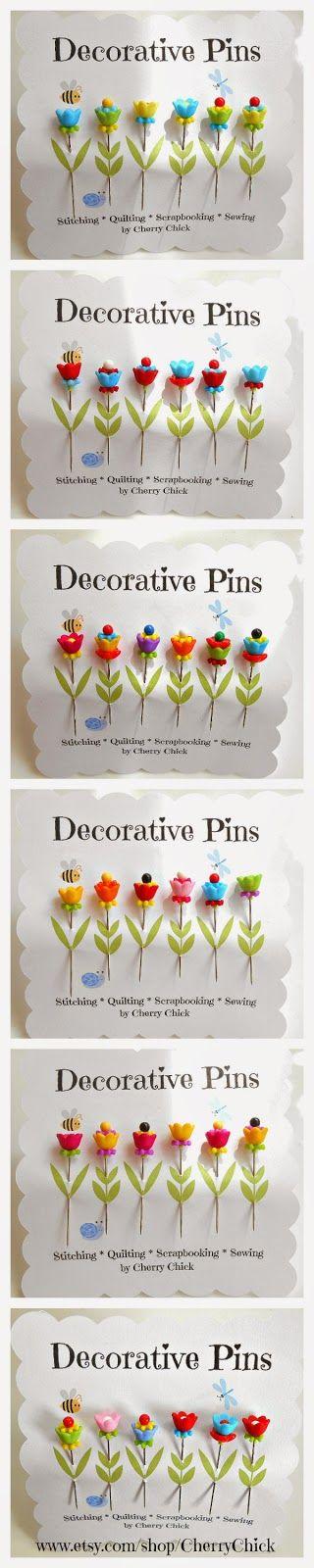 Decorative Flower Pins Collage... Sewing Pins, Quilting Pins, Pincushion Pins, Scrapbooking Pins, Card making Pins #CherryChick