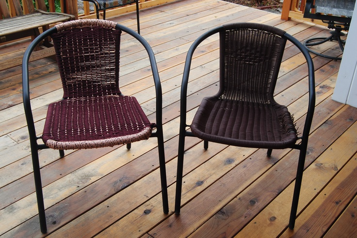 On The Right Patio Table Chair With Plastic Webbing On