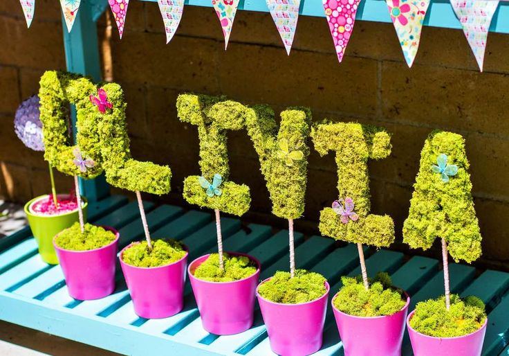Fun decoration at a Garden birthday party! See more party ideas at CatchMyParty.com!
