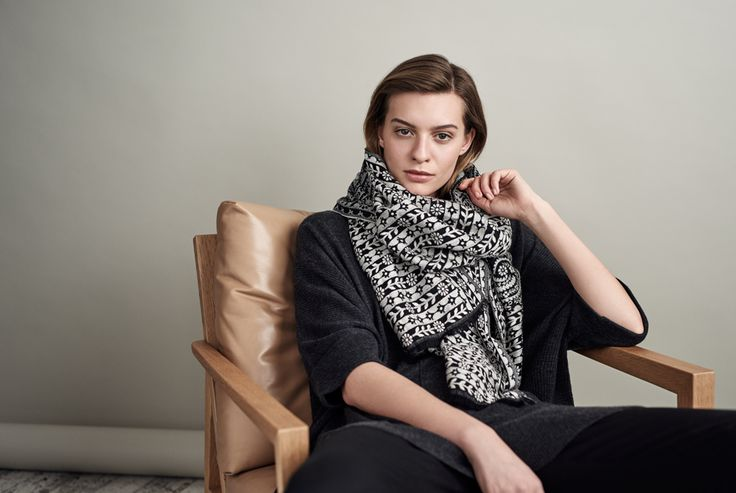 Texture-rich, tonal and transseasonal in a mid-weight cotton blend. Woven with a monochromatic jacquard floral design, layer this scarf over your favourite black, charcoal and grey pieces.     SHOP NOW