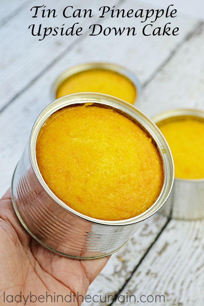 Tin Can Piña revés Cake | Está pastel favorito en un tamaño fácil de manejar sola porción.  El mini pastel de tamaño perfecto para cualquier fiesta.