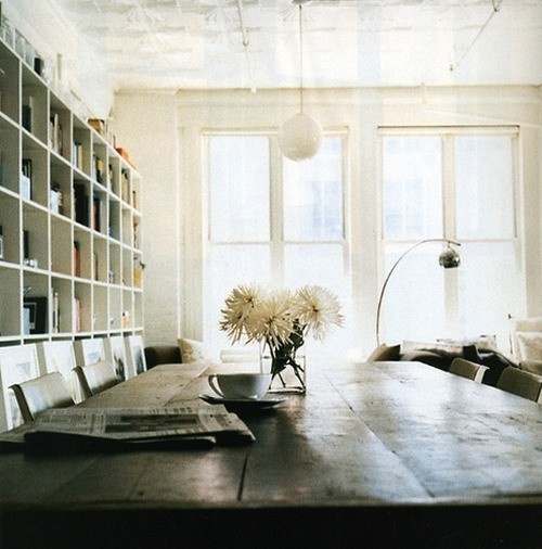 One day, I want a VERY large dining room table.: Rustic Rooms, Big Window, Shelves, White Rooms, Wood Tables, Dining Rooms Tables, Spaces Design, Dinning Tables, Dining Tables