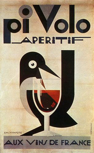 Great stylized bird and type - Poster designed by Cassandre 1924.