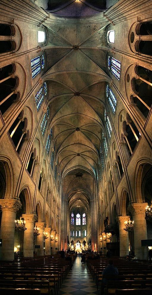 Interior of the Notre-Dame Cathedral de Paris. Six photographs stitched together to create this vertical panoramic.: