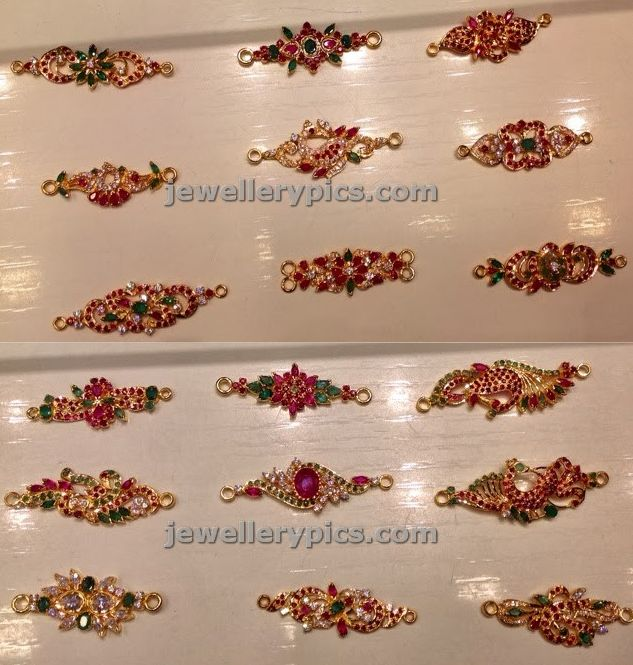 Gold mugappu with rubies and emeralds