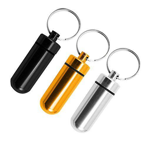 COM-FOUR� Camping & Outdoor Tablettendose / Medikamentenbox / Pillendose als Schl�sselanh�nger - wasserdicht (3er breit- Set 2)