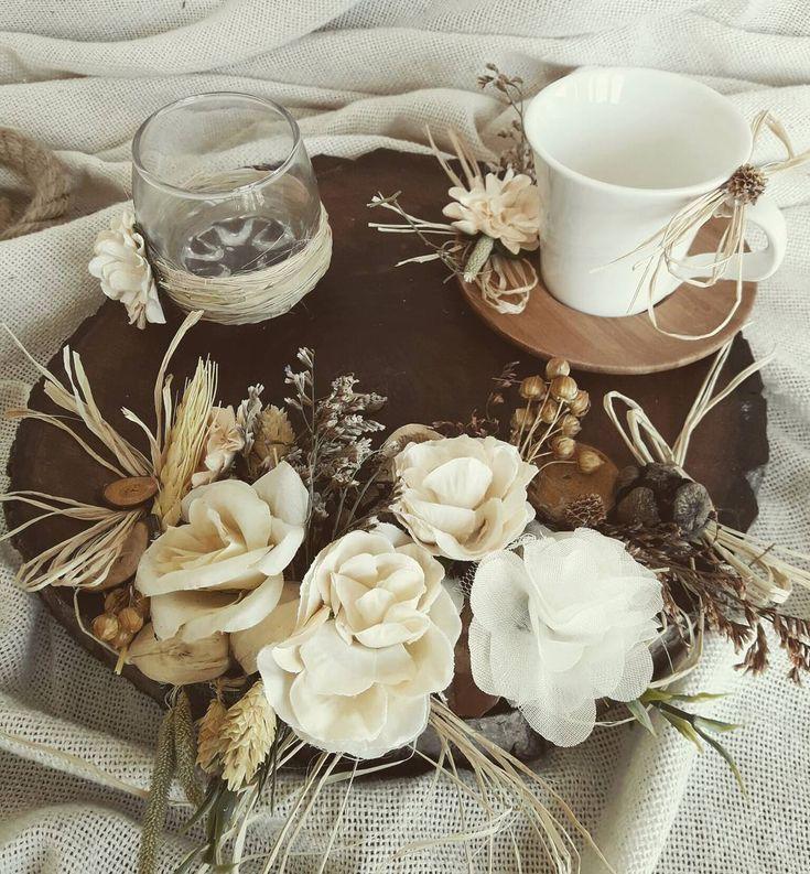 Krem Çiçekli Damat Fincanı Seti -