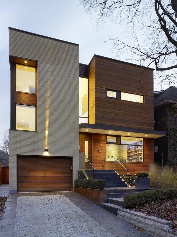 modern house exterior design front door ideas wood facade wooden garage door