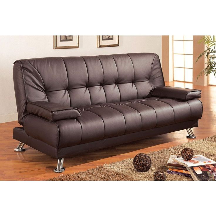 modern futon style sleeper sofa bed in brown faux leather - Futon Living Room Set