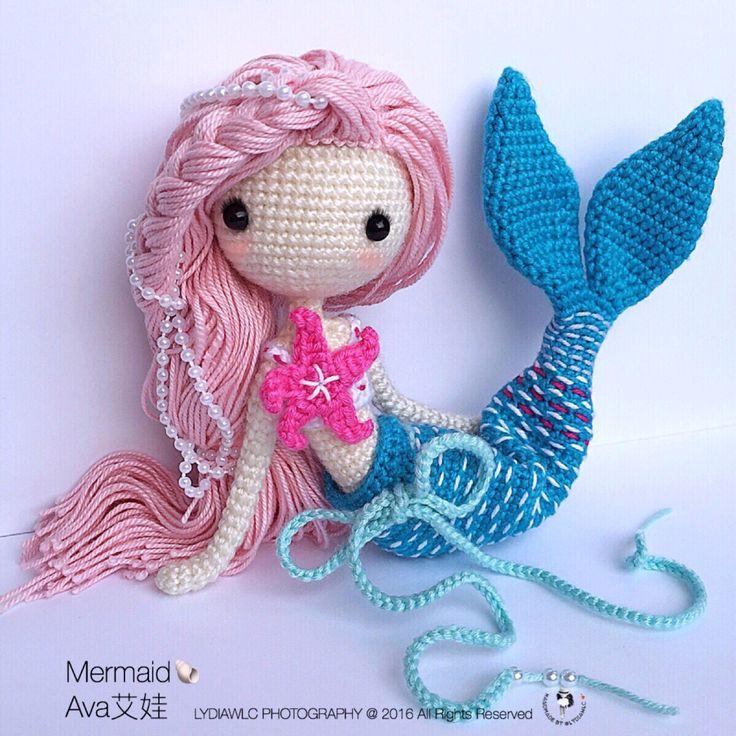 Crochet patrones de muñeca - sirena-Ava艾娃. (Una muñeca de ganchillo con el look 2, sirena o niña) de LydiawlcMW en Etsy https://www.etsy.com/mx/listing/462325295/crochet-patrones-de-muneca-sirena-ava-ai