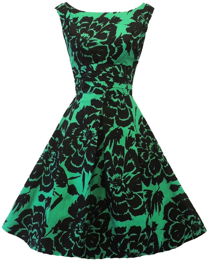 New Rosa Rosa  1940's 50's style Green Black Floral Rockabilly Party Prom Dress #RosaRosa
