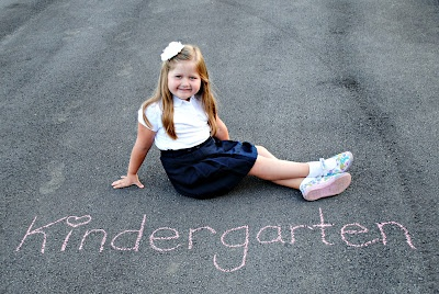 First day of school pictures with sidewalk chalk