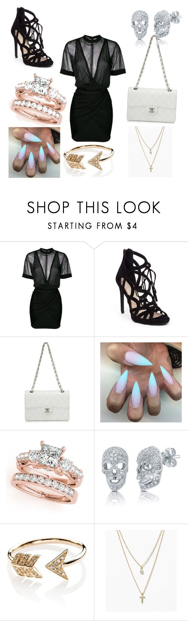 """Night out"" by ellouisegrisdale ❤ liked on Polyvore featuring Balmain, Jessica Simpson, Chanel, BERRICLE, EF Collection and LOFT"