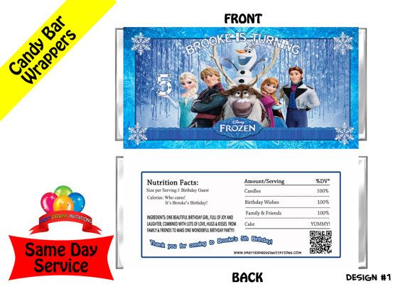 disney frozen movie candy bar wrappers same day service