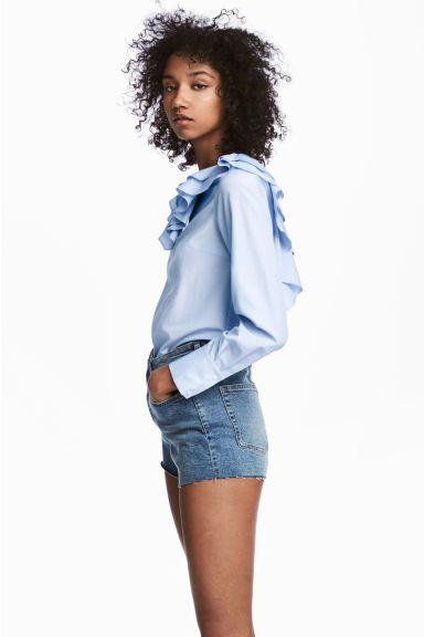 Short en jean Taille haute - Bleu denim - FEMME | H&M FR