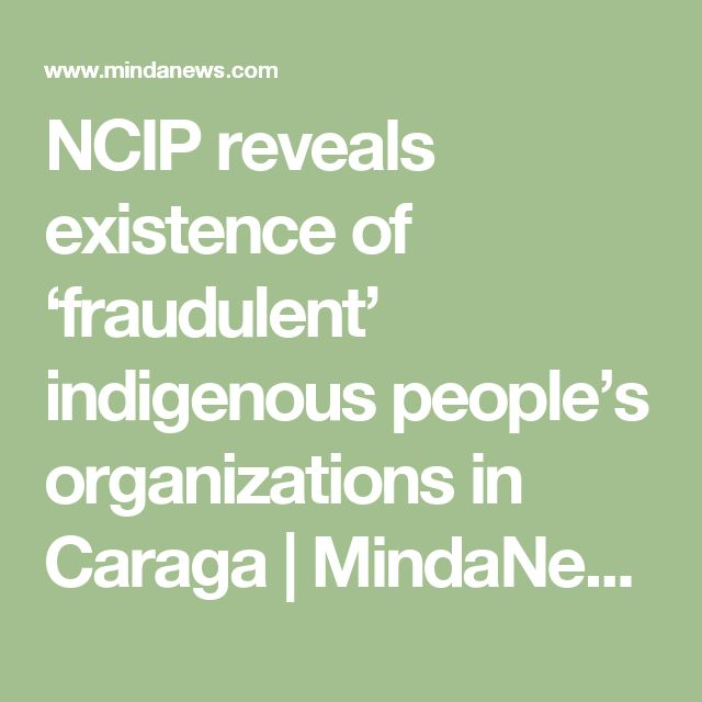 NCIP reveals existence of 'fraudulent' indigenous people's organizations in Caraga   MindaNews