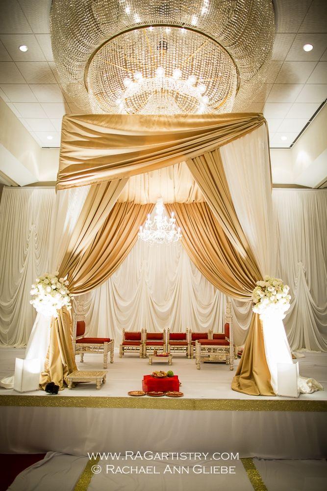Indian fabric #mandap modern mandap idea  gold and white mandap