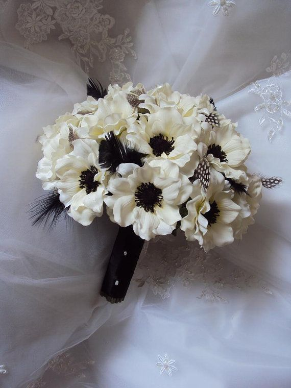 Silk Ivory Anemones Wedding Bouquet accented with Black Ostrich & guinea feathers  with Matching Anemone Boutonniere on Etsy, $135.00