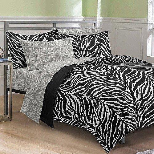 Black White Zebra Printed Comforter Set Queen Sheets Zigzag