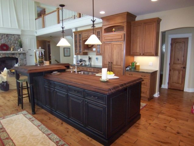 Black Kitchen Island With Butcher Block Top Interior Modern