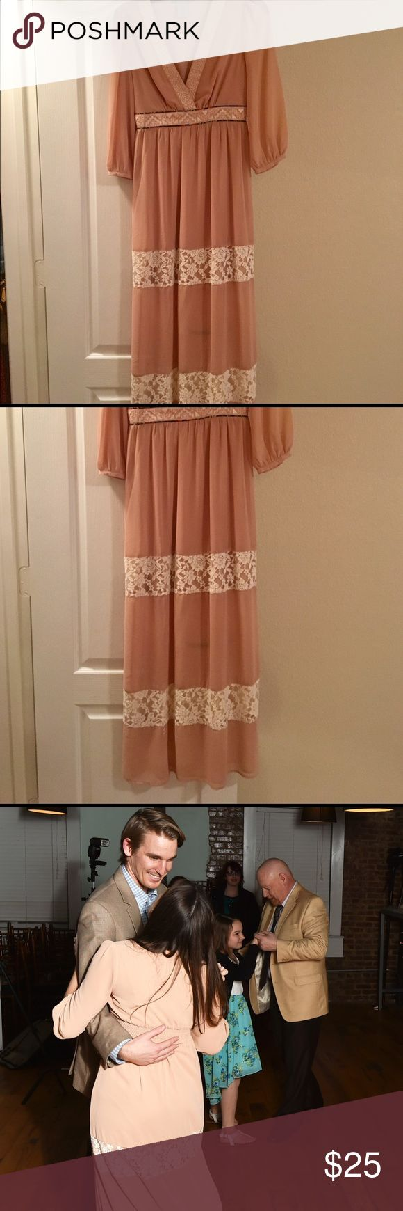 Blush Maxi Dress | Aztec Maxi Dress | Lace Maxi Gorgeous maxi dress | worn once, see above | side zipper closure | Aztec detail and lace panel | partially lined | Size Small, fits sizes 2-6 easily | I am a 32D and the top fits very well and comfortably | dry cleaned after wear | perfect condition + a great addition to your spring wardrobe! Dresses Maxi