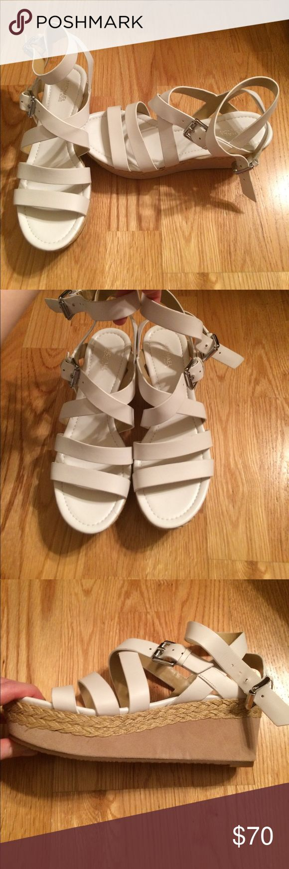 Shoes. Never been worn - White Wedge Heels, small strap up leg. MICHAEL Michael Kors Shoes Wedges