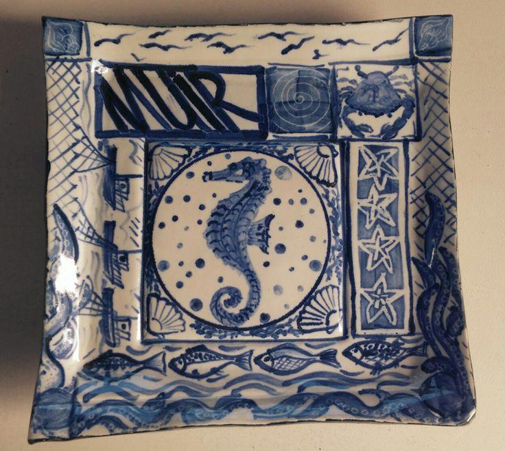 Ceramic dish. Sea themed, sea horse, blue and white decoration.