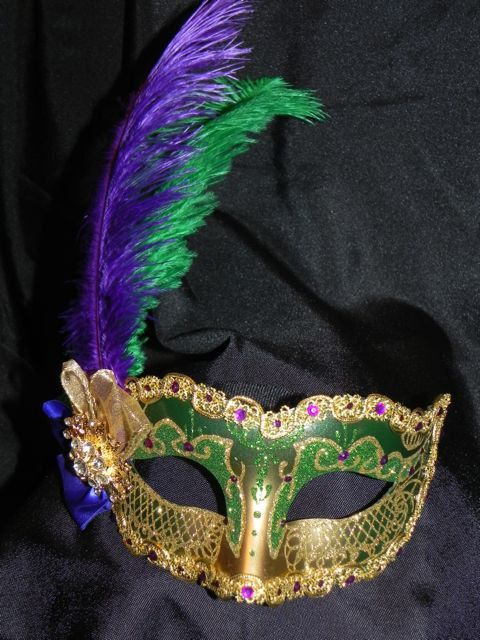 Mardi Gras Mask decorated in Purple Green by TheCraftyChemist07, $55.00