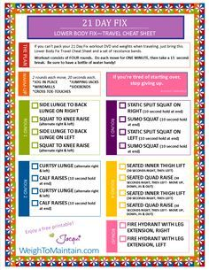 21 Day Fix Workout – Lower Body Fix Printable PDF – Travel Cheat Sheet (Weigh to…