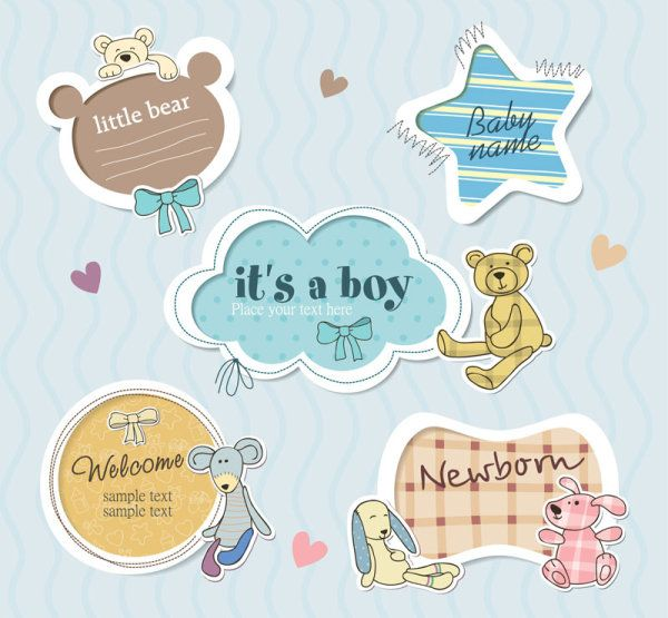 Cute Baby frames with text label vector 05