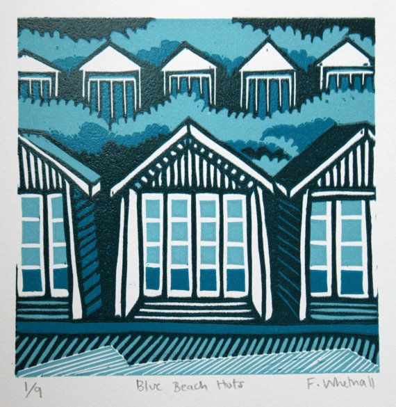 Blue Beach Huts - signed original reduction linocut print by Francesca Whetnall