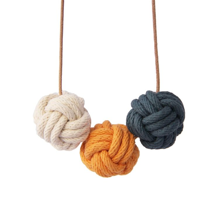 Image of Nautical knot necklace in navy, ochre and natural