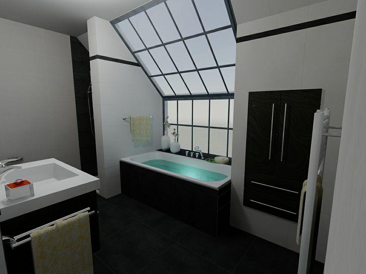 Heb je een groot raam in je badkamer? Dan kan je perfect voor een donkere vloer kiezen. #blackandwhite #bathroom