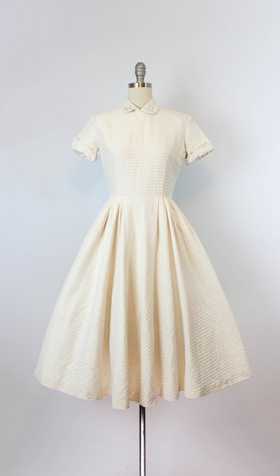 51e2ea2323 Vintage 50s dress   1950s cream striped dress   silk faille dress ...
